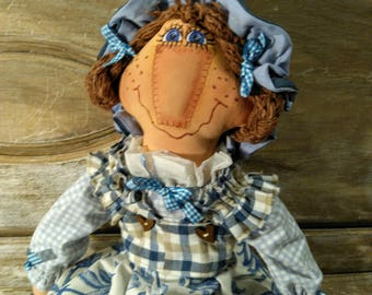 Primitive Rag Doll - Raggedy Doll - Clothed Doll - Rag Doll - Primitive - Hand Painted - Ragged Doll - Fabric - Handmade Doll - Faap
