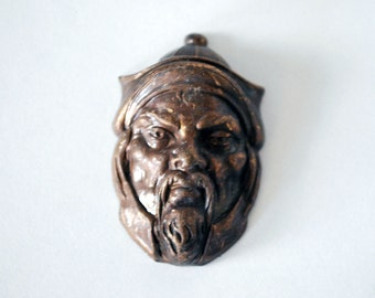 Joseff of Hollywood, Turban Head Jewelry Mold, Jewelry Making Supplies, Genghis Khan, Brass Metal Head, 1940s Collectible, Bearded Man