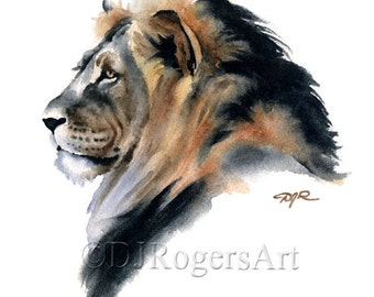 Lion Art Print - Watercolor Painting - Signed by Artist DJ Rogers - Wildlife - Wall Decor