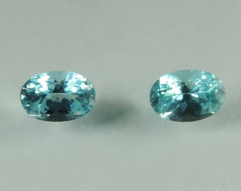 1.5 cts blue Apatite  6x4 mm faceted oval lot Madagascar