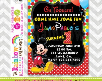 205: DIY - Mickey Mouse Party Invitation Or Thank You Card
