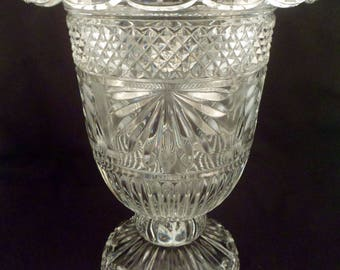 Very Large Wheel-Cut Crystal Vase, Over 9 1/2 Lbs, Excellent Condition