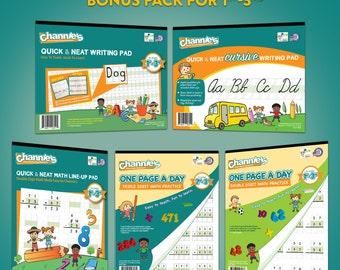 Channie's Visual handwriting and Math Workbook Bonus Pack 5 workbooks.