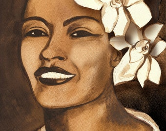 Billie Holiday Watercolor Original Illustration by Connie Troupe Print 8 x12