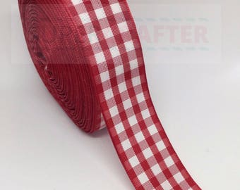 Gingham Scottish Tartan Polyester Double Sided Ribbon Red 25mm Bows