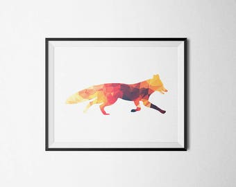 Red Fox Print, Geometric Print, Geometric Wall Art, Woodland Art Decor, Room Decor, Low poly art, Nursery Decor, Geometric Animals, Wall Art