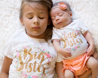 GLITTER Big Sister Little Sister and Baby Sister set Outfit  / Big Sister and Little sister set
