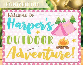 Glamping Party Sign, Girls Camping Welcome Sign, Camping Party Decorations, Glamping Welcome Sign, Glamping Sign, Girls Camping Decorations