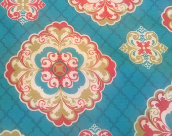 Turquoise red and olive green cotton fabric 2 yards