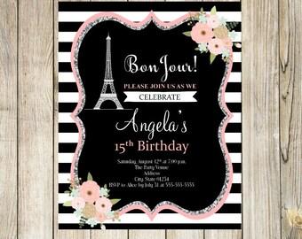 Paris Birthday Invitation, Paris Birthday Party, Paris Birthday, Paris Theme Party, Eiffel Tower Invitation, Eiffel Tower Party, Paris Party