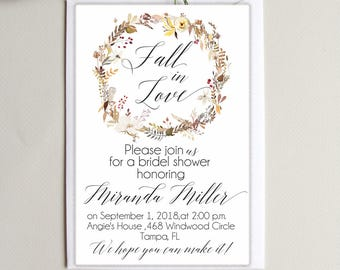 Bridal Shower Invitation Fall in love Invite Digital  Bridal Shower Invitation Personalized Floral Wreath Bridal Shower Invite
