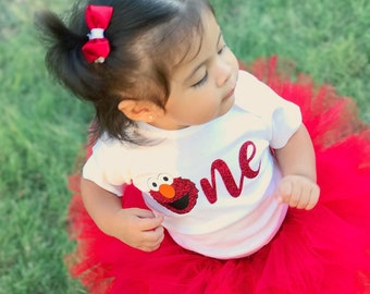 GLITTER Elmo One Birthday Bodysuit Sesame Street First Birthday Shirt Baby Girl