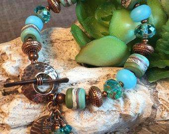 SEASHORE, artisan lampwork and copper bracelet