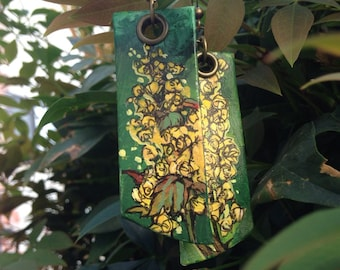 Oregon state flower - Oregon Grape Flower Hand-Painted earrings