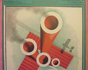 February 1932 Fortune Magazine Nice Cover Art By Paolo Garretto has 136 pages of ads and articles, Wall Street Stock Market Decor