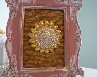 A Stunning Gold Tone Sunflower & Rhinestone Brooch - Wearable Framed Art