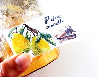 Pear jam labels, hand made stickers, sticker fruit label jars of jam, custom canning labels