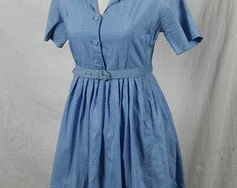 Gorgeous Dixie Deb 1950s Blue Tone-on-Tone Textured Short Sleeve Shirtwaist Dress