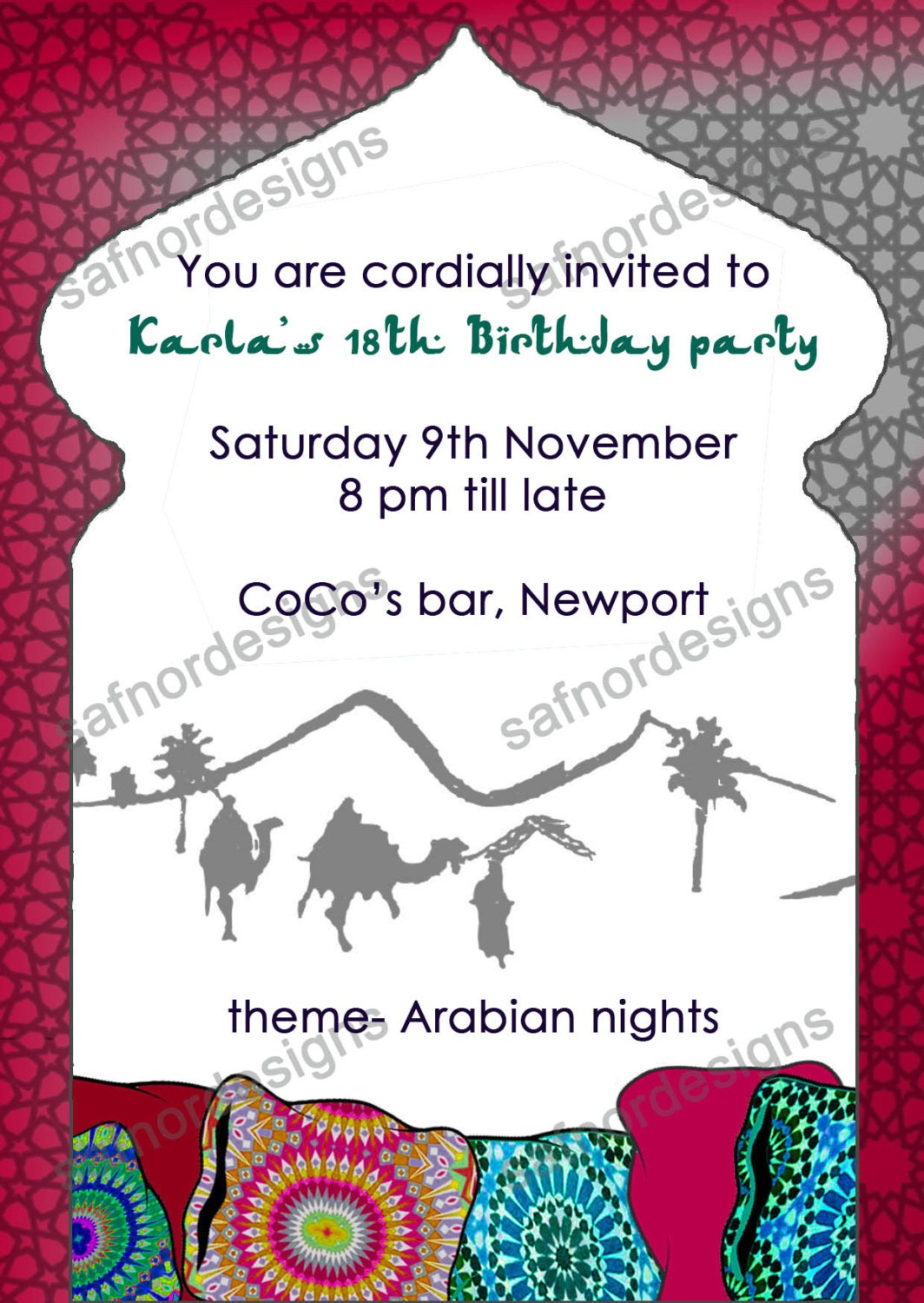 DIY Printable Arabian Nights Theme Party Invitation