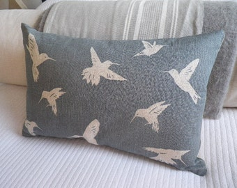 Hand printed muted blue King fisher bird cushion cover