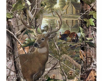 RealTree Cotton Panel with Deer And Turkey-Realtree Camo Cotton Panel-Sold By the Panel-100% Cotton