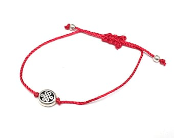 Red String Bracelet, Silk Red String of Fate, Infinity Celtic Knot Sterling Bead Bracelet, Friendship Good Luck Bracelet, Couples Bracelet