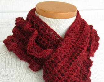Cranberry Burgundy Maroon Dark Red Long V-shaped Ruffle Scarf