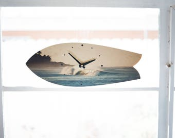 Wave Print Surfboard Wall Clock Surf Art Beach House Decor