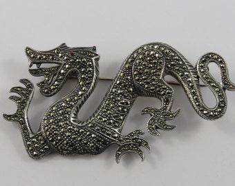 Sterling Silver Marcasite Dragon Brooch