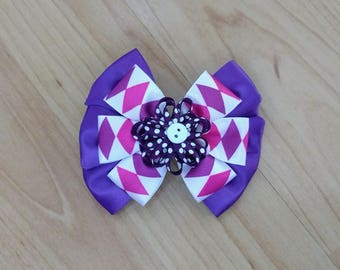 Purple Hairbow, Flower Hairbow, Girls Hairbow, Girls Hair Accessory, Purple Hair Barrette, Purple Hair Clip, Flower Barrette