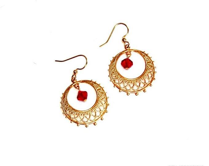 Gold FIligree with Red Crystal Earrings, Dangle Earrings, Hook Earrings, Bell Art Designs 179