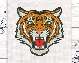 Tiger embroidery Machine embroidery design 4 sizes INSTANT DOWNLOAD EE5010