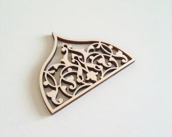Cool airy Laser cut ornamental wood detail 359 / Laser cut wood / Wood ornaments / Wood shapes / Wedding decor / Wood charms / Wood cutouts