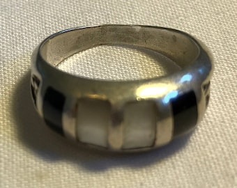 Sterling Silver Onyx And Pearl Ring-Size 6 1/2