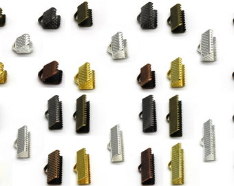 Ribbon Ends - Clamp Style 1/4 - 1 inch all sizes  - Choose Silver, Gold, Bronze, Copper, or Gunmetal Black