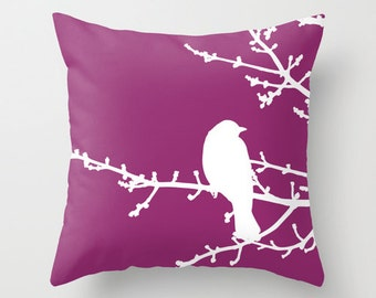 Bird on Branches Pillow Cover - Violet Purple - Modern - Home Decor - includes insert