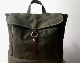 Water proof waxed Canvas Unisex Satchel Backpack ,Army green School laptop Bag,Travel Tote,Leather strap diaper bag Sale 25 % /no.102 -TANYA