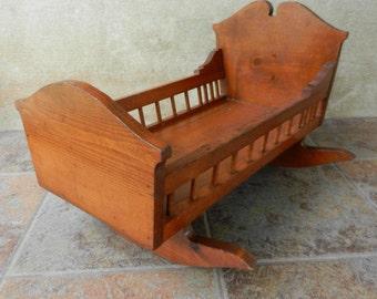 Large Handmade Wooden Doll Cradle, Doll Crib, Doll Bed, Rocking Cradle, Folk Art