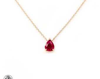 Ruby Necklace, Pear Shaped Ruby Necklace, Solitaire Pear Ruby Necklace, July Birthstone Necklace, Pear Shaped Ruby | NEC02114