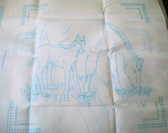 Quilt Blocks Stamped for Embroidery, Stamped Needlework, Horse Quilt Blocks, Jack Dempsey, Embroidery Supplies, Quilt Blocks, Pony and Mare