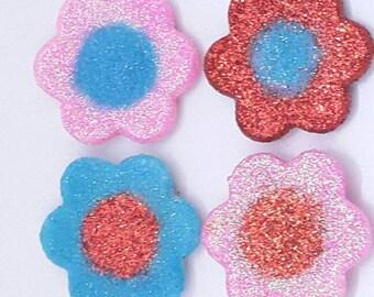 Glitter flower fridge magnets