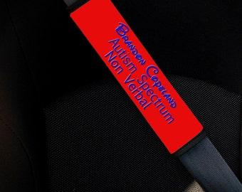 Autism Awareness Seat Belt Cover. Autism Safety. Seat Belt Pad. Autism ID Seatbelt. Medical Alert Seat Pad.