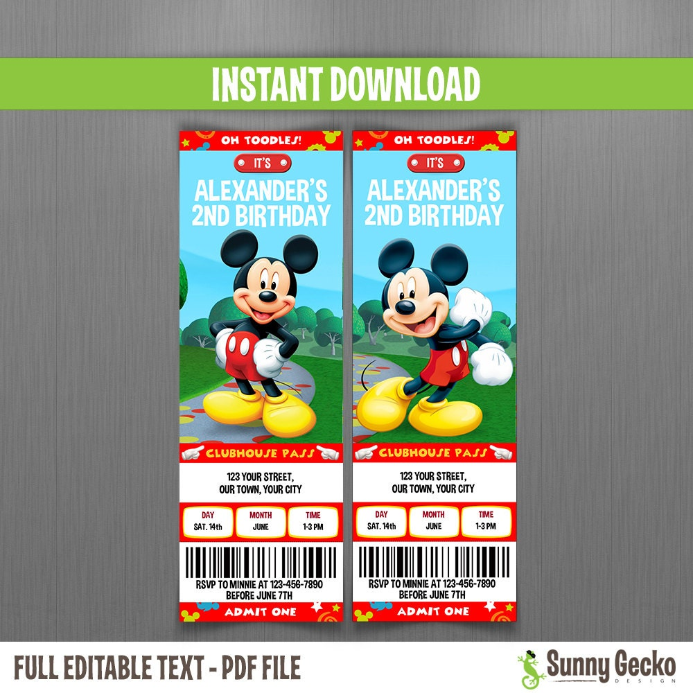 mickey mouse clubhouse invitations free Intoanysearchco