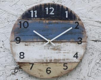 Wall Clock. Beach Clock. Beach Decor. Reclaimed Wood wall clock. Blue. Coastal Colors. Pallet Wood. Coastal Decor.