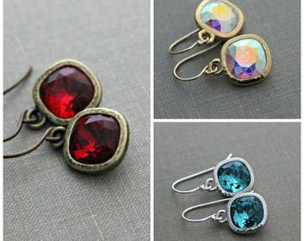 Swarovski Crystal earrings - Choice of color - Gold, Silver or Brass - Red, Rainbow AB and Teal - Ocean blue - Gift for her - Sparkly