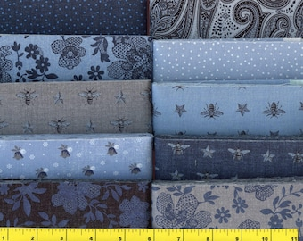 """Country Blue, Gray & Black Jelly Roll 40 - 2.5"""" Strips Quilting Fabric"""