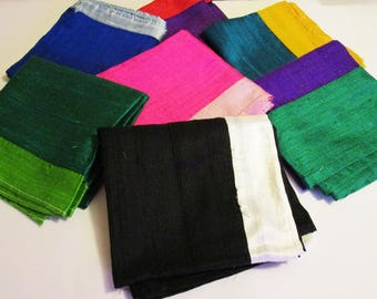 Silk Bandana, Two Tone Bandana, Dupioni Bandana, Two Color Bandana, Silk Dupioni Bandana, Two Colored Bandana