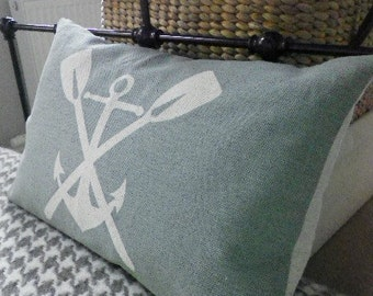 Hand printed oars and anchor cushion cover