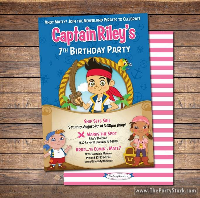 Jake and the neverland pirates invitations printable girls zoom filmwisefo