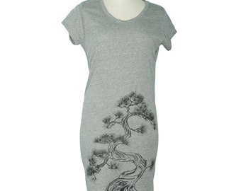 Eco Grey Japanese Pine Tree, Sumi-e T-Shirt Dress, Screen Printed, Gifts for Her, Botanical, Bonsai, Tunic, Limited Stock